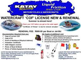 Let us arrange your watercraft 'COF' license (NEW & RENEWAL) FOR YOU!!
