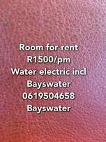 Room for rent R1500/pm water electric incl