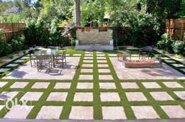 Landscaping,flagstones, timbered works,mondo grass,palms