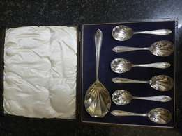Antique EPNS silver Christening set .1 Server and 6 spoons