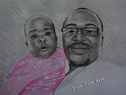 Get a high quality sketch of you A3 size 3900 A4 2500 kshs A2 7500 ksh