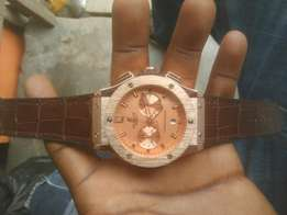 Hublot chronograph watch brown leather