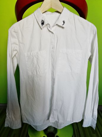 ZARA biała koszula z naszywkami OCZY napisy ASYMETRYCZNA 38