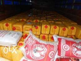 50kg Bags of Rice and 25litres Gallons of oils