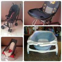 feeding chair, stroller, foldup baby bath & take a long bouncer
