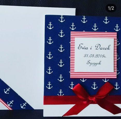 Kartka ślubna Z Motywem Marynistycznym Marynarskim Kotwice