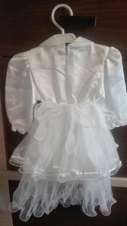 58a027f437 Sukienka biała niemowlęca na chrzest nowa falbanki koronka LUKROY Kożuchów  - image 4