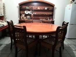 Yellow wood and Emboia wood Cape Dutch style diningroom suite