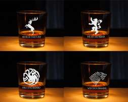 Game of Thrones Stark Whiskey Glass, Etched glass - Gifts For Dad
