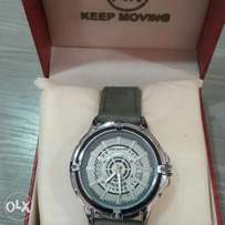 Keep moving leather watch.