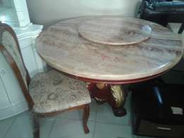 Marble top dining table with 6 solid chairs