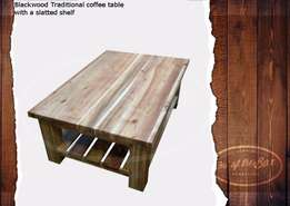 Large Coffee Table Traditional With Slatted Shelf