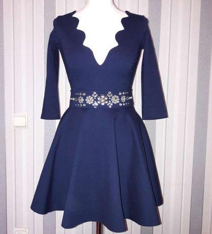 138444ccf4ebed4 Архив: Платье нарядное вечернее короткое пышное синее с камнями на Новый год:  1 000 грн. - Женская одежда Киев на Olx