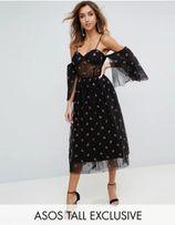 84088d2700 Piękna czarna sukienka z haftem w kwiatki 44 ASOS studniówka karnawał