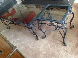Glass coffee set with two high stools