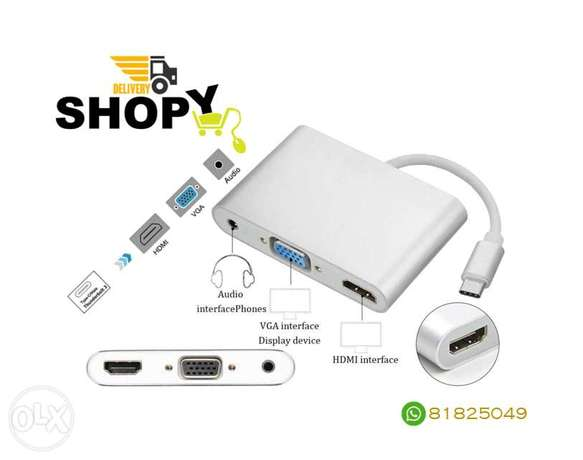 Type-C to HDMI VGA With Audio Adapter 3 in 1