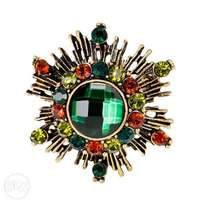 Women Retro Multi-Colour Rhinestone Brooch