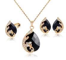 High Grade Crystal Peacock Jewelry Set- Black
