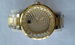 Rolex studded gold and silver mens watch