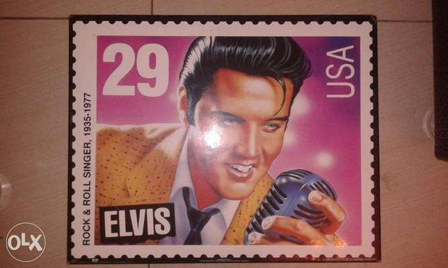 20elvis presley stamp style wall photo 50*40cm on wooden plate