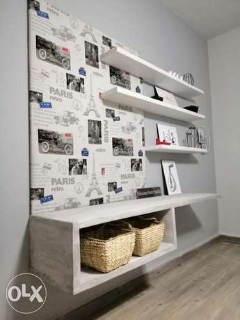 TV stand with rustic shelves and fabrics wood ستاند تلفزيون مع تنجيد