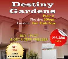 Buy a plot at a discount and also win a deep freezer