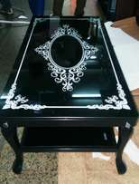 black metal and glass table