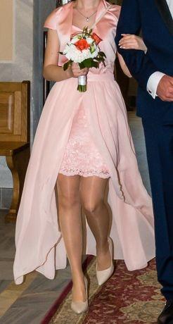 Sukienka łososiowa na wesele, dla druhny i nie tylko