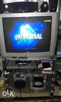 "55"" Rinex TV ; LG DVD player with speakers and TV stand"