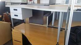 5 Grey Wave Desk with 2D Pedestal, CapeOffice2nds