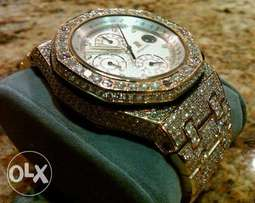 Yellow gold iced out Audemars Piaget