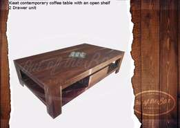 Contemporary 2 drawer open shelf coffee table