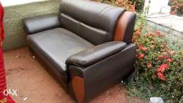 complete set of leather mix wit brown and black sofa for your comfort