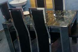 Quality Mirro leg marble dinining by six with six chairs