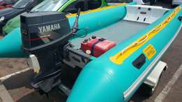 Rubber boat and trailer