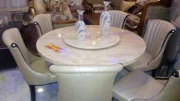 Round marble dining set by 6chairs