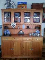 Oregan pine display cabinet with lead glass
