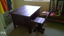 Rhodesian teak study desk and chair