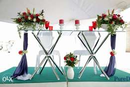 hire his/her chairs, red/white carpet, artificial carpet, stretch tent