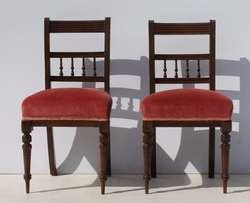 2 Vintage Spindle Back Dining Room Chairs with Turned Legs