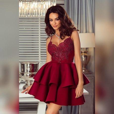 d89fb2b19a Elegancka sukienka bordowa rozkloszowana cekiny M Kołobrzeg - image 1