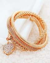 Bangle Chain Bracelet Gold Plated Sterling Cristal Cuff Heart Charm