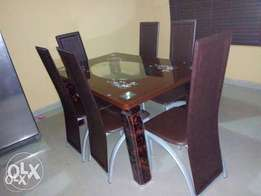 Brown Glass Six Seater Dining Table