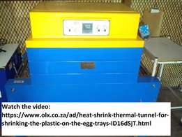 Shrinking Heat tunnel for shrinking the plastic on egg trays
