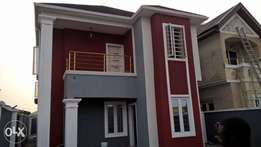 A 4 bedroom duplex opp Fara Park Estate Abijo