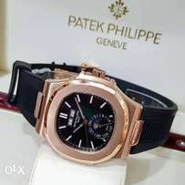 Patek philippe rose gold rubber wrist watch