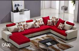 Yuma fabric sectional sofa with throw pillows