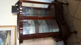 Antique Embuia and curved Glass display cabinet