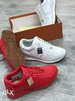 Lv Sneakers Red White with gum sole