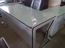 White glass Executive office table. 1.8mtr